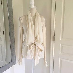 Rachel Zoe silk longsleeve dress top blouse